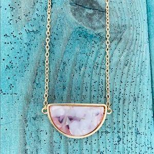 Jewelry - Gold Pendant Necklace Choker w Pink & White Quartz
